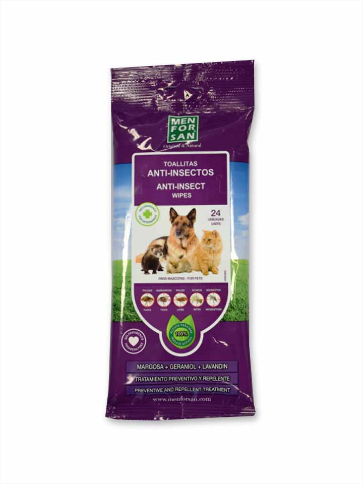 Toallitas Limpiadoras Anti-insectos con Margosa, Geraniol y Lavandino para perros y gatos